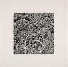 Ernesto Bonato, série Deambulatório, Gotas, xilogravura, 2007, PA, papel- 59x59cm, imagem- 30x30cm